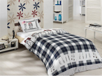 Постельное белье RANFORCE MALDINE (1,5 спальный) - (50x70 см - 1 шт.) - Синий