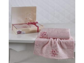 Набор махровых полотенец KARNA VIOLA (2 шт.) - Розовый