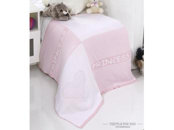 Плед вязаный детский KARNA PRENS (80x90 см) - Розовый