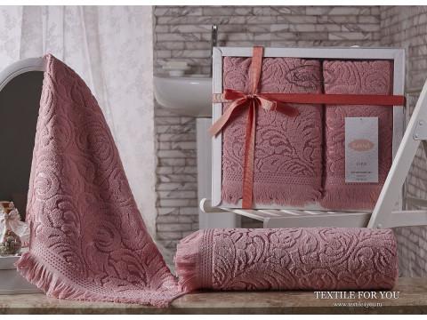 Набор махровых полотенец KARNA ESRA  (2 шт.) - Розовый