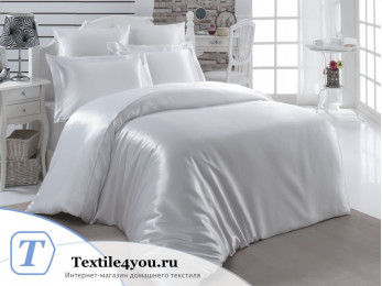 Постельное белье KARNA ARIN Атласный шелк (Евро) - Белый