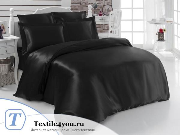 Постельное белье KARNA ARIN Атласный шелк (Евро) - Черный