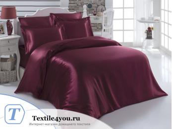 Постельное белье KARNA ARIN Атласный шелк (Евро) - Бордовый