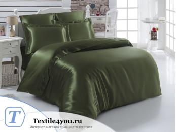 Постельное белье KARNA ARIN Атласный шелк (Евро) - Зеленый