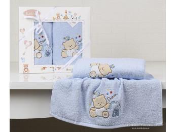 Комплект полотенец детский KARNA BAMBINO-BEAR (2 шт.) - Голубой