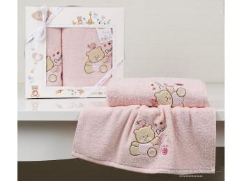 Комплект полотенец детский KARNA BAMBINO-BEAR (2 шт.) - Розовый