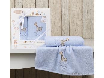 Комплект полотенец детский KARNA BAMBINO-GIRAFFE (2 шт.) - Голубой