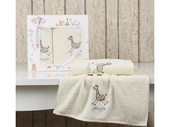 Комплект полотенец детский KARNA BAMBINO-GIRAFFE (2 шт.) - Кремовый