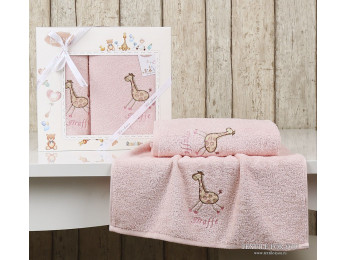 Комплект полотенец детский KARNA BAMBINO-GIRAFFE (2 шт.) - Розовый