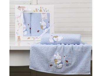 Комплект полотенец детский KARNA BAMBINO-BUNNY (2 шт.) - Голубой