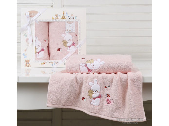 Комплект полотенец детский KARNA BAMBINO-BUNNY (2 шт.) - Розовый