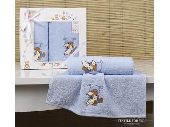 Комплект полотенец детский KARNA BAMBINO-TEDDY (2 шт.) - Голубой