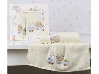 Комплект полотенец детский KARNA BAMBINO-TRAIN (2 шт.) - Кремовый