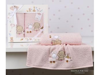 Комплект полотенец детский KARNA BAMBINO-TRAIN (2 шт.) - Розовый