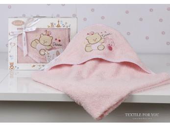 Полотенце с капюшоном детское KARNA BAMBINO-BEAR (90x90 см) - Розовый