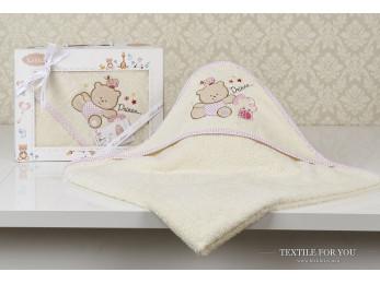 Полотенце с капюшоном детское KARNA BAMBINO-BEAR (90x90 см) - Mолочный