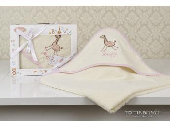 Полотенце с капюшоном детское KARNA BAMBINO-GIRAFFE (90x90 см) - Mолочный