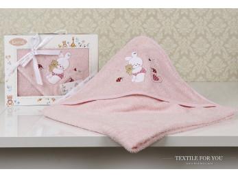 Полотенце с капюшоном детское KARNA BAMBINO-BUNNY (90x90 см) - Розовый