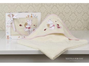 Полотенце с капюшоном детское KARNA BAMBINO-BUNNY (90x90 см) - Mолочный