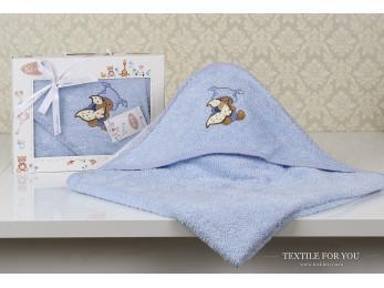 Полотенце с капюшоном детское KARNA BAMBINO-TEDDY (90x90 см) - Голубой