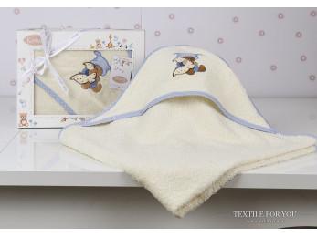 Полотенце с капюшоном детское KARNA BAMBINO-TEDDY (90x90 см) - Кремовый
