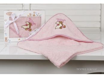 Полотенце с капюшоном детское KARNA BAMBINO-TEDDY (90x90 см) - Розовый