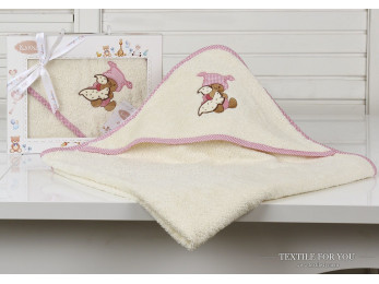 Полотенце с капюшоном детское KARNA BAMBINO-TEDDY (90x90 см) - Mолочный
