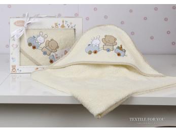 Полотенце с капюшоном детское KARNA BAMBINO-TRAIN (90x90 см) - Кремовый