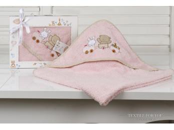 Полотенце с капюшоном детское KARNA BAMBINO-TRAIN (90x90 см) - Розовый