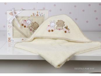 Полотенце с капюшоном детское KARNA BAMBINO-TRAIN (90x90 см) - Mолочный
