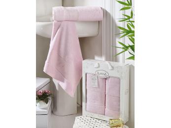 Набор бамбуковых полотенец KARNA PANDORA  (2 шт.) - Розовый