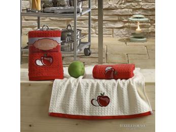 Кухонное полотенце вафельное KARNA LEMON - 45x65 см (2 шт.) - Красный V1