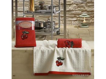 Кухонное полотенце вафельное KARNA LEMON - 45x65 см (2 шт.) - Красный V2