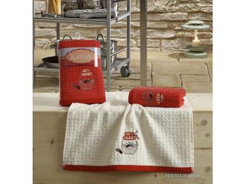Кухонное полотенце вафельное KARNA LEMON - 45x65 см (2 шт.) - Красный V3