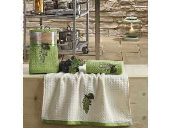 Кухонное полотенце вафельное KARNA LEMON - 45x65 см (2 шт.) - Зеленый V1