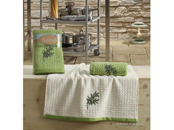 Кухонное полотенце вафельное KARNA LEMON - 45x65 см (2 шт.) - Зеленый V2