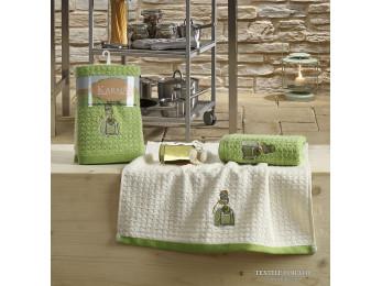 Кухонное полотенце вафельное KARNA LEMON - 45x65 см (2 шт.) - Зеленый V3