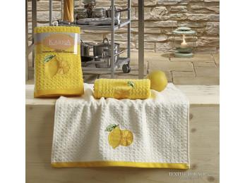 Кухонное полотенце вафельное KARNA LEMON - 45x65 см (2 шт.) - Желтый V1