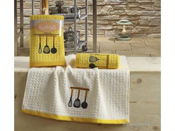 Кухонное полотенце вафельное KARNA LEMON - 45x65 см (2 шт.) - Желтый V2