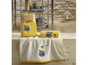 Кухонное полотенце вафельное KARNA LEMON - 45x65 см (2 шт.) - Желтый V3