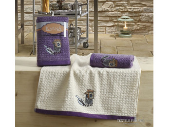 Кухонное полотенце вафельное KARNA LEMON - 45x65 см (2 шт.) - Сиреневый V1