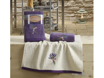 Кухонное полотенце вафельное KARNA LEMON - 45x65 см (2 шт.) - Сиреневый V2