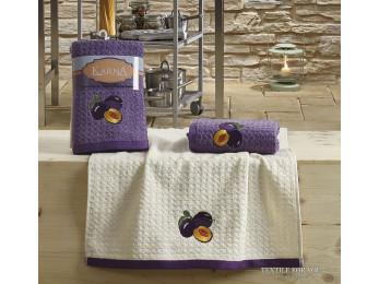 Кухонное полотенце вафельное KARNA LEMON - 45x65 см (2 шт.) - Сиреневый V3