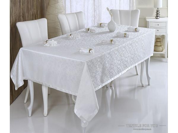 Скатерть VEROLLI KURDELELI с салфетками (160x600 см) - Кремовый
