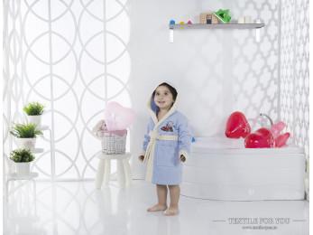 Халат детский с капюшоном Велюр KARNA SNOP (2-3 года) - Голубой