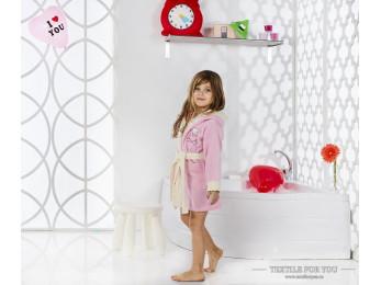 Халат детский с капюшоном Велюр KARNA SNOP (2-3 года) - Розовый