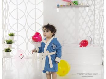 Халат детский с капюшоном Велюр KARNA SNOP (2-3 года) - Синий