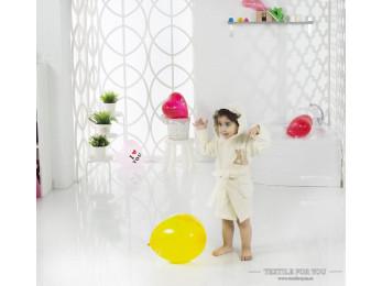 Халат детский с капюшоном Велюр KARNA SNOP (4-5 лет) - Кремовый