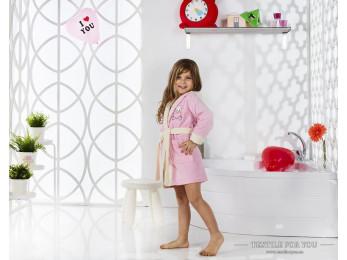 Халат детский с капюшоном Велюр KARNA SNOP (4-5 лет) - Розовый
