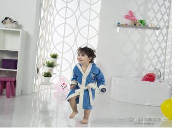 Халат детский с капюшоном Велюр KARNA SNOP (4-5 лет) - Синий